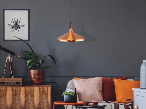 lámpara colgante vintage acero y madera e27 40w 1 luz