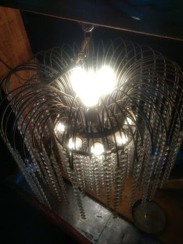 lampara con led caireles de vidrio