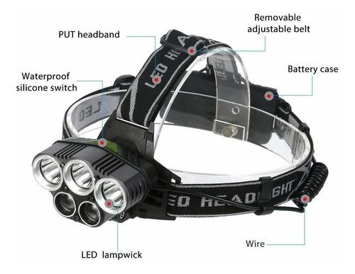lámpara de cabeza recargable usb 6 modo led