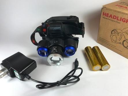 lampara de cabeza tipo minero 3 cree led t6 recarg. c/ agua