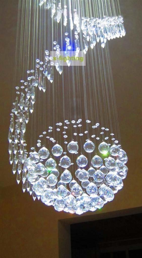 Lampara de cristal forma redondo en espiral luz led p techo u s en mercado libre - Luz de techo ...
