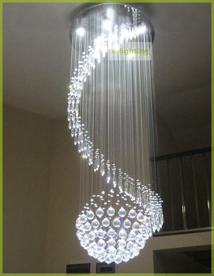 Lampara de cristal forma redondo en espiral luz led p - Lamparas de techo de led ...