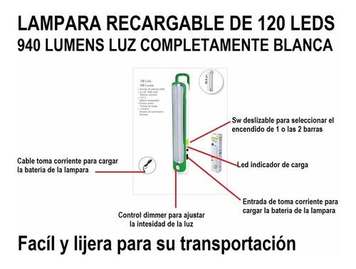 lampara de emergencia recargable 120 leds 940 lumens  dhl