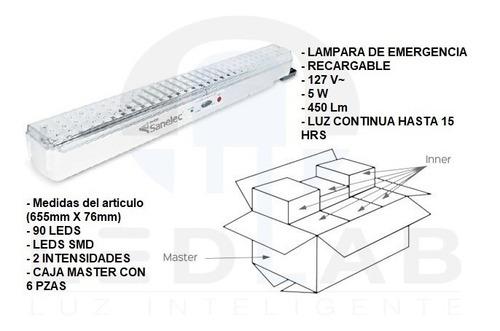 lampara de emergencia recargable 90 leds 5w paquete de 6 pzs