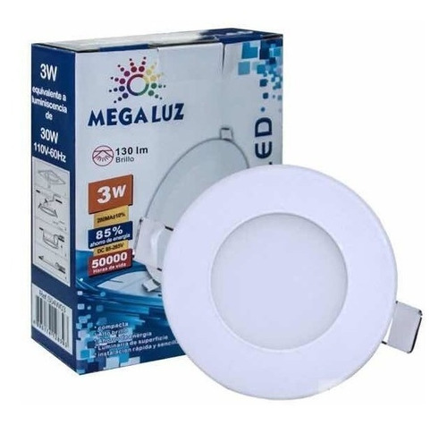 lampara de empotrar led 3w , plafon luz blanca 6500. oferta