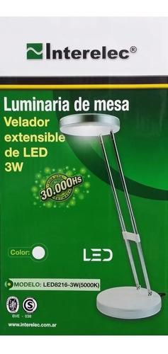 lampara de escritorio led 3w gx8216 interelec extensible