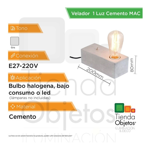 lámpara de escritorio mac cemento e27 bulbo interior deco