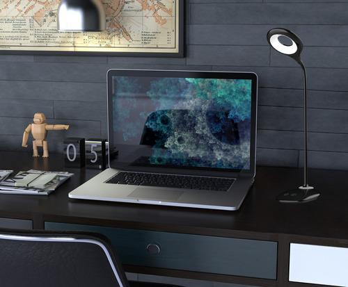 lámpara de escritorio sarli  autónoma flexible blanco negro