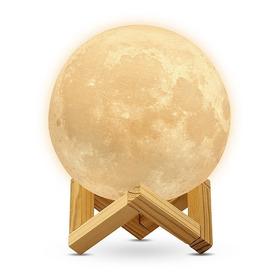 Lámpara De Luna 3d Led Réplica Exacta Grande 18cms Redlemon