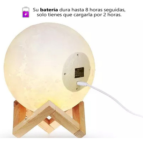 lámpara de luna llena led 14cm diseño 3d recargable + touch