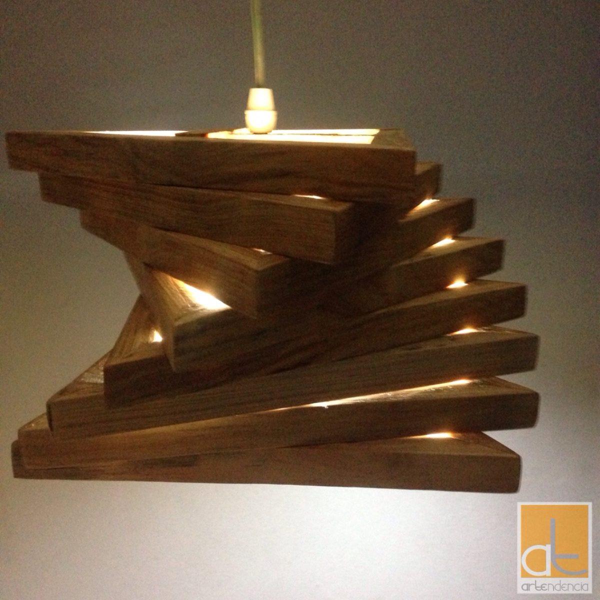 L mpara de madera de techo moderna artendencia helicoidal - Como decorar tulipas de lamparas ...