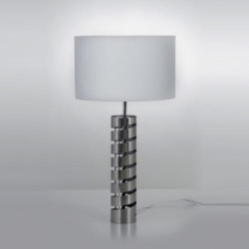lámpara de mesa acero pantalla blanca