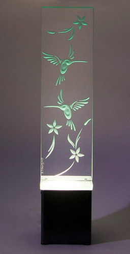 lámpara de mesa buró escritorio colibrí cristal decorativa