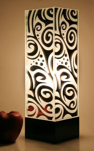 lámpara de mesa buró escritorio cristal espejo abstracto