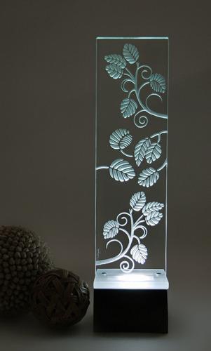 lámpara de mesa, buró, escritorio hojas cristal decorativa