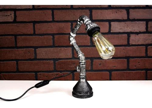 lámpara de mesa buro vintage retro industrial plata antiguo