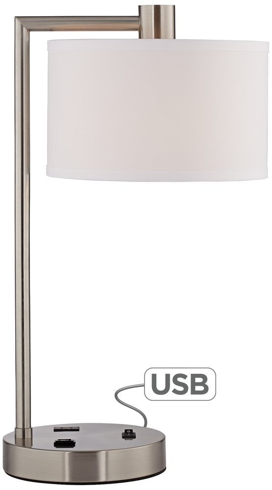 Nickel Usb Mesa Brushed Outlet De Colby Puerto Lampara 3ALqj5R4