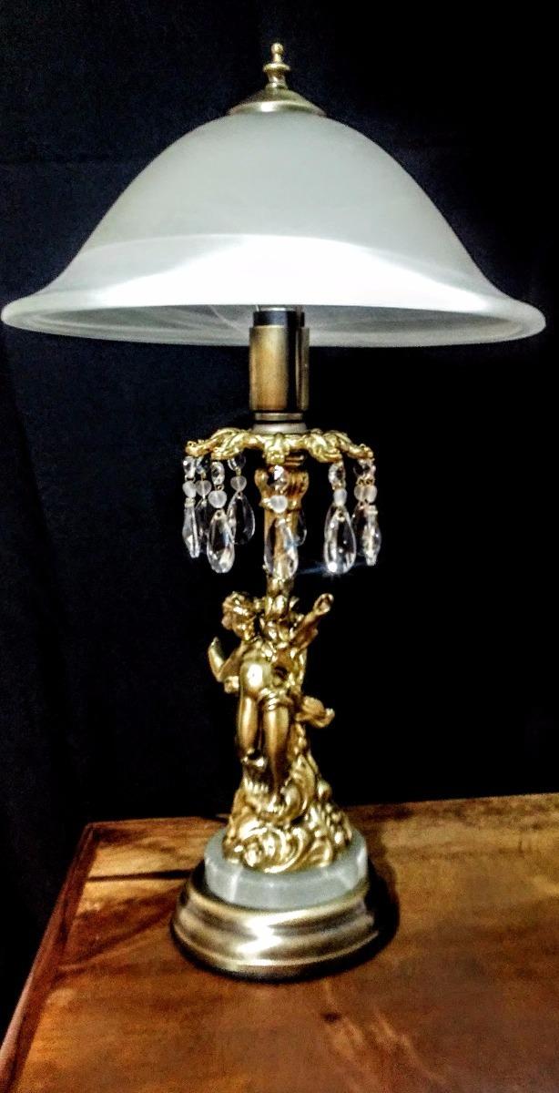 L mpara de mesa de lat n m rmol antimonio y vidrio - Mesas de marmol y cristal ...