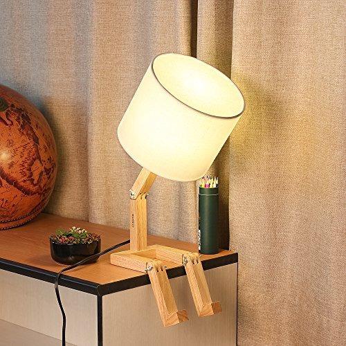 lámpara de mesa de madera haitral ajustable lámpara de me