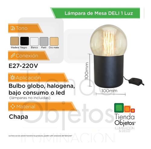 lámpara de mesa e27 deli g125 platil oro mate escritorio