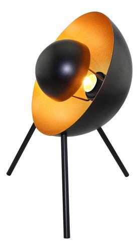 lámpara de mesa e27 sitges bulbo interior deco negro oro