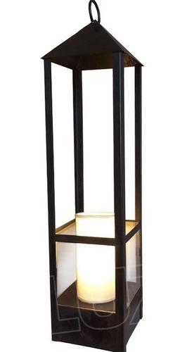 lámpara de mesa farol grande c/ pant. tela - hierro óxido
