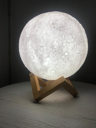 lámpara de mesa fullmoon luna táctil led 3w carga usb