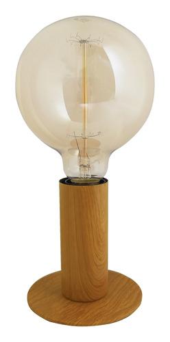 lámpara de mesa huancaína e27 bulbo interior deco madera