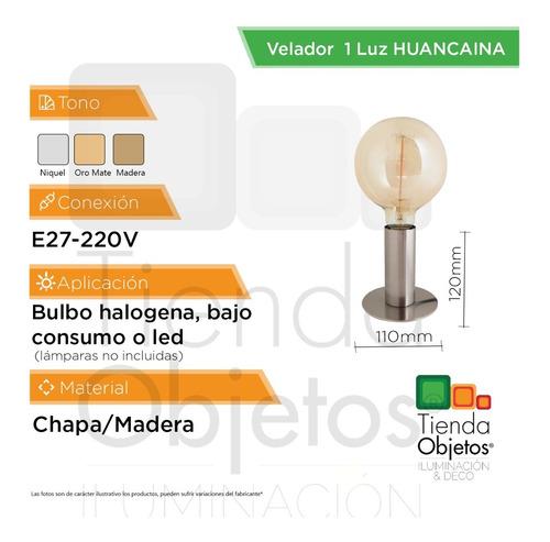 lámpara de mesa huancaína e27  interior deco madera cuotas
