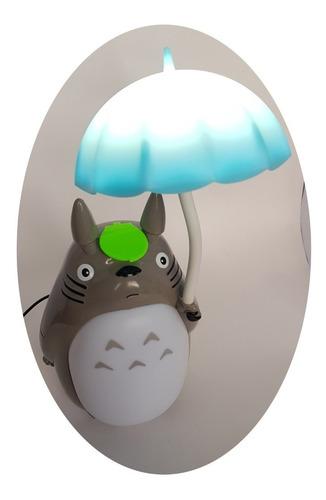 lampara de mesa led totoro recargable sombrilla azul