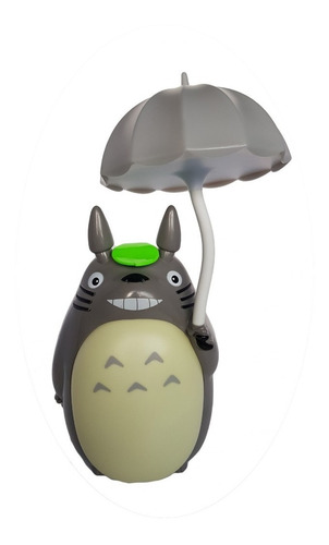 lampara de mesa led totoro recargable sombrilla gris