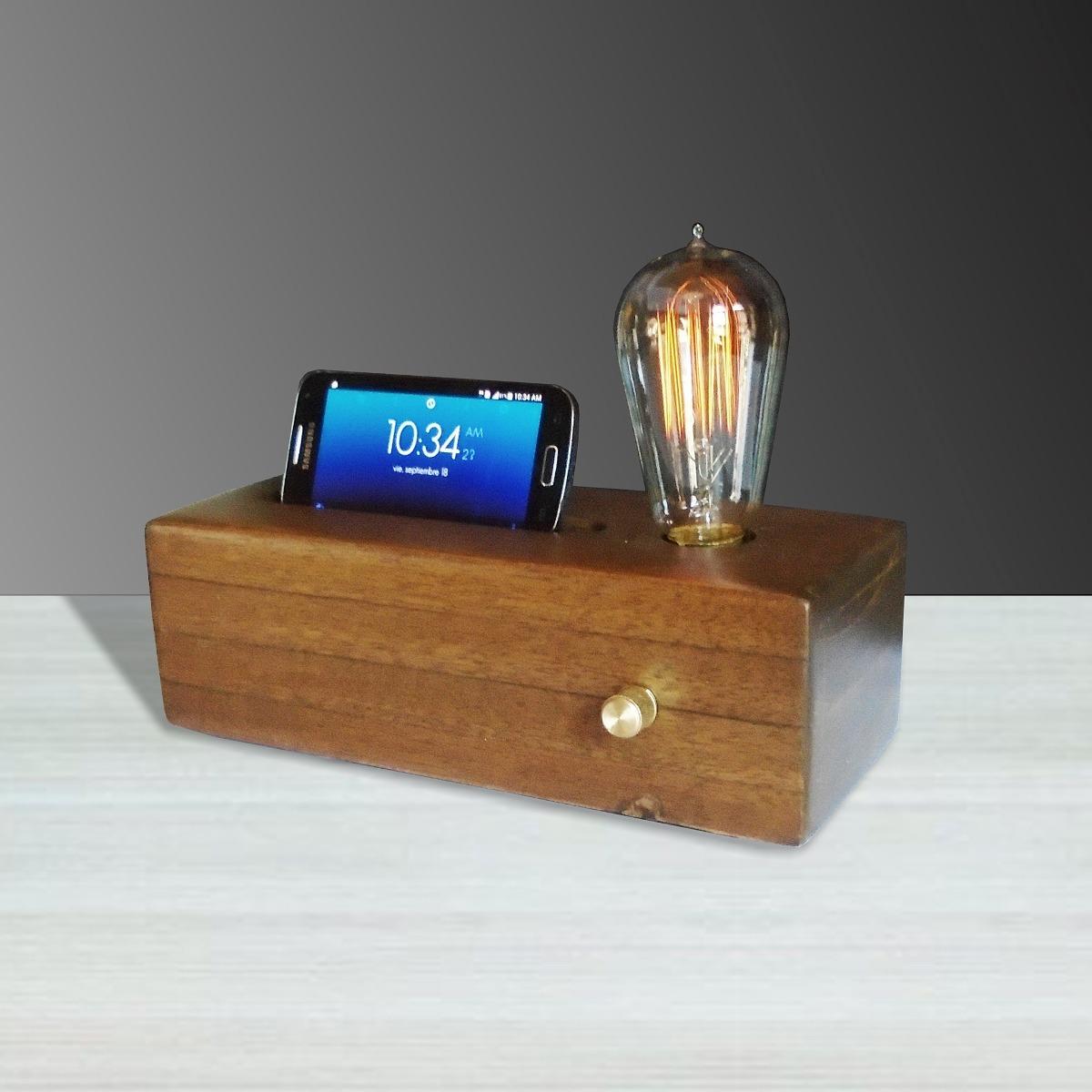 Lampara de mesa porta celular nogal minimalista vintage - Lamparas para mesa de estudio ...