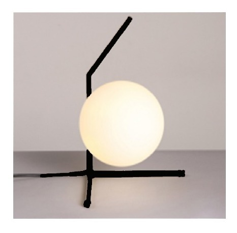 lampara de mesa velador ekato con globo vidrio apto led e27