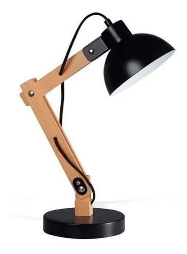 lampara de mesa velador escritorio madera arlon negro e27