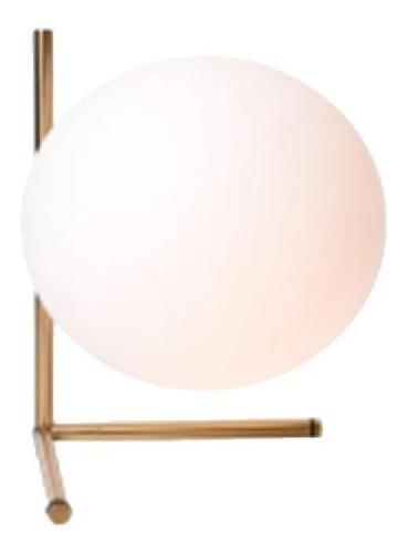 lampara de mesa velador ikosi dorado con globo apto led e27