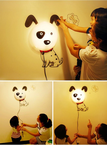 lampara de pared 3d perrito perro blanco