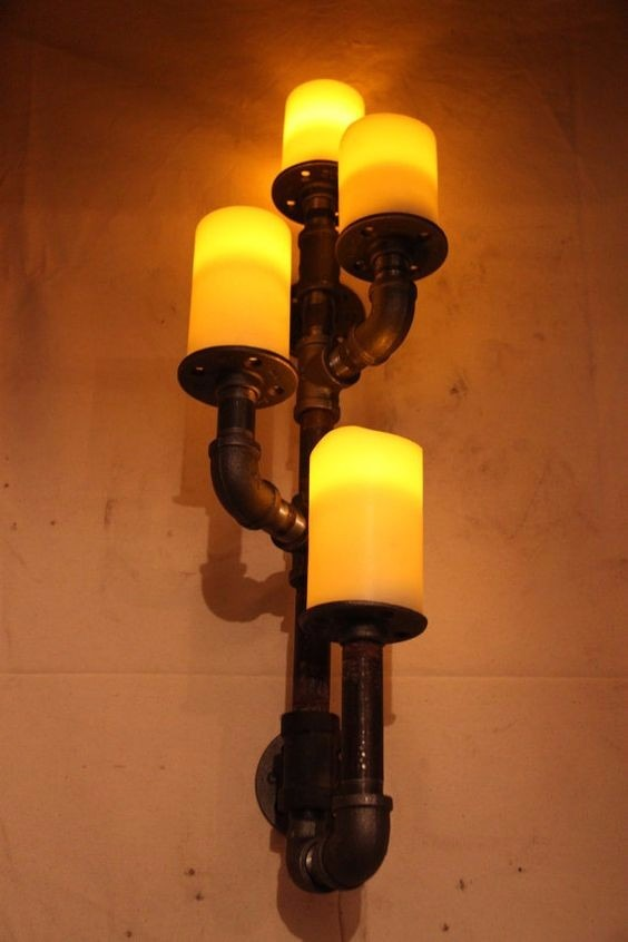 Lampara Led Pared Loft Estilo Candelabro Industrial De Lc5RqAj34