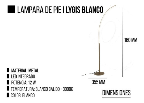 lampara de pie 12w led integrado lygis blanco leuk diseño
