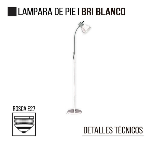 lampara de pie bri blanco e27 led flexible moderna deco