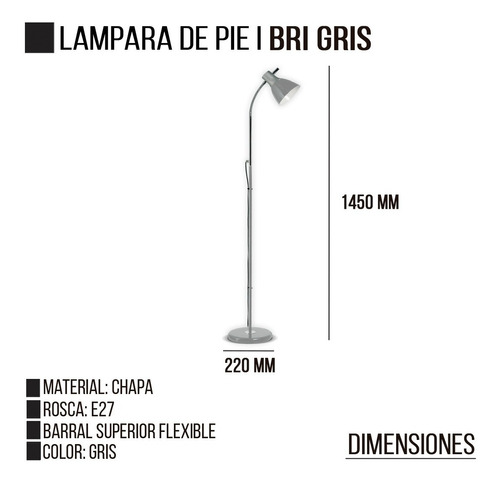 lampara de pie bri gris e27 led flexible moderna deco