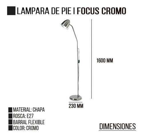 lampara de pie focus e27 cromado ovoide flexible led