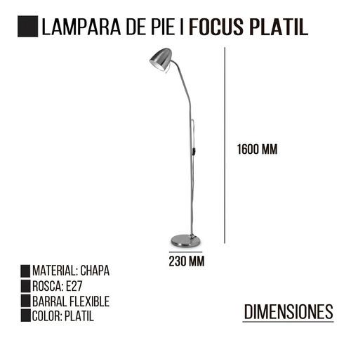 lampara de pie focus e27 platil acero ovoide flexible led