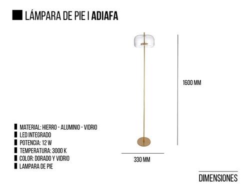 lampara de pie led integrado adiafa leuk