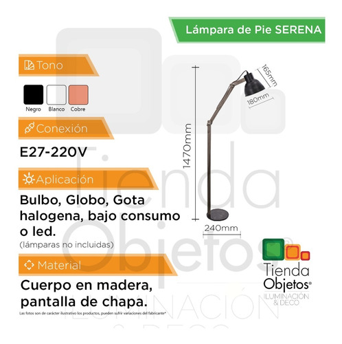 lámpara de pie moderna estilo nordico e27 serena cobre