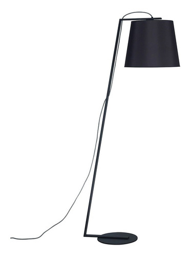 lampara de pie negra pantalla conica negra kinu