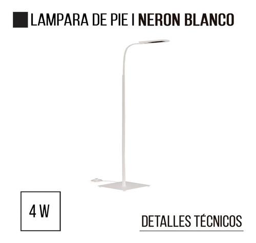 lampara de pie neron blanco 4w led decoracion diseño