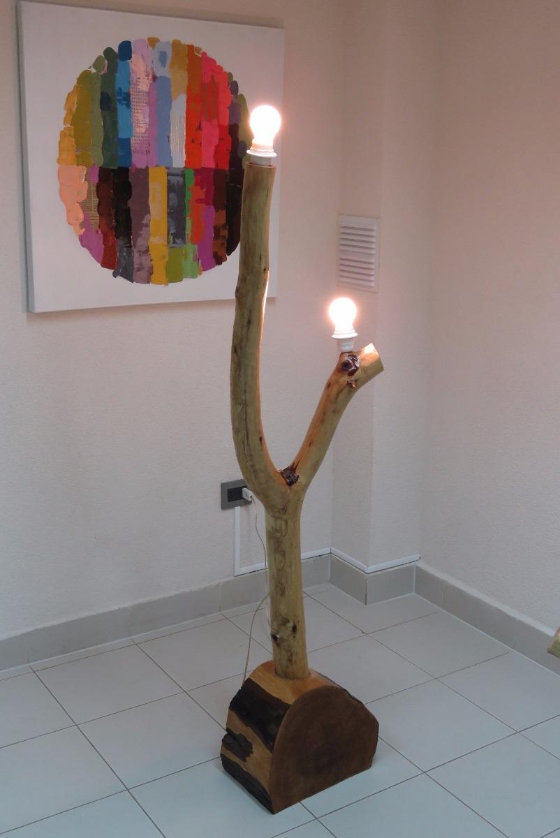 Lampara de pie r stica madera lingue ulmo 2 focos 55 - Lamparas de pie minimalistas ...