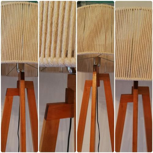 lampara de pie tripode de madera mod. escandinavo nordico
