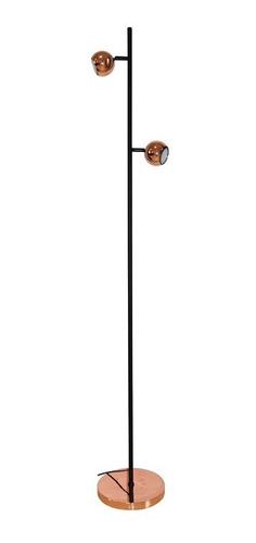 lámpara de pie venus 2 luces gu10 dicroica deco cromo-cobre