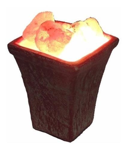 lampara de sal de ceramica batik roja rincondeluz2008